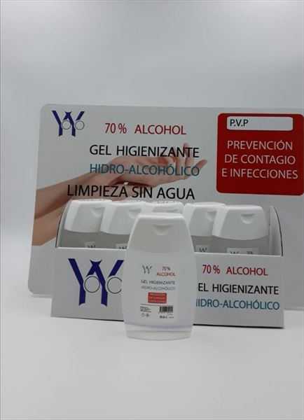 EXPOSITOR GEL HIDROALCOHOLICO DE 100ML 20 UNIDADES