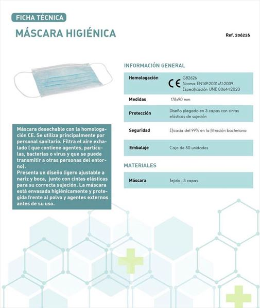 MASCARILLA HIGIENICA BUCAL 3 CAPAS COLOR AZUL