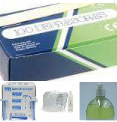 100 DEPRESORES, 100 CUCHILLAS DAHLHAUSEN, 5000 ML GEL CONDUCTOR Y 2 GEL ALOE VERA 500ML